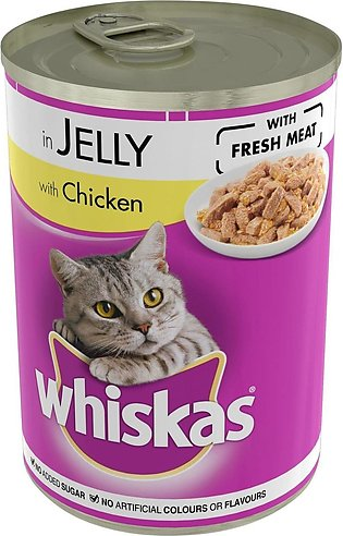 12 PIECES OF Whiskas CAT FOOD Chicken In Jelly Tin 390 G