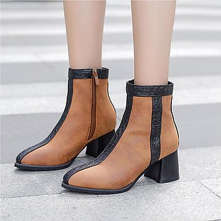 ✫Good Quality✫  Women Ankle Boots Square Heels Shoes Zip Casual Short Fashion B…