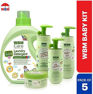 WBM Baby Care (5 in 1) kit Essentials Pack with Baby Powder, Laundry Detergent,…