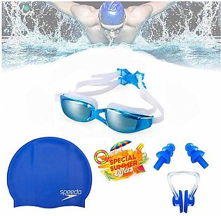 Set of 3 - Swimming Glasses Goggles Swim Cap Ear Plugs Nose Clip Anti-Fog UV Pr…