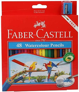 Fabber Casstell WaterColor Pencils with Sharpener and Brush, 48 WaterColored Pe…