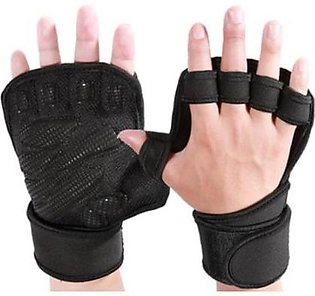 Pair Weight Lifting Gloves Gym Leather Weight Lifting Padded Gloves Fitness Tra…