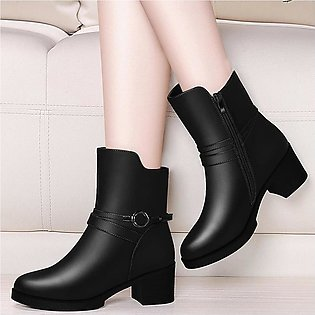 Women's Leisure Solid Round Toe Zipper Square Med Heel Boots Shoes