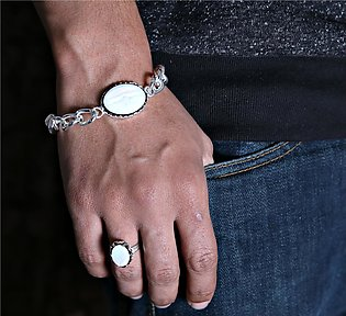 GOLDEN LIGHT Pack Of White Opal Stone Trendy Silver Plated Ring and Bracelet