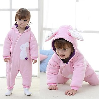 ✫Good Quality✫ Girl Baby Ear Rabbit Winter Jacket Kid Zip Thick Snowsuit Hoodie…