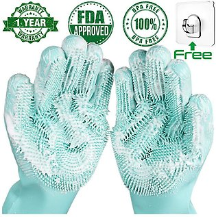 1Pair Dishwashing Cleaning Gloves Magic Silicone Rubber Dish Washing Glove for …