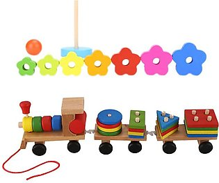 Baby Wooden Train Educational Toys & Baby Kid Educational Wooden Toy Stacking N…