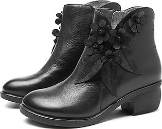 Fashion Women Vintage Handmade Leather Ankle Boots Casual Floral Zipper Shoes