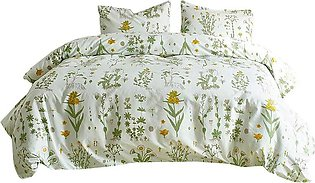 3-Piece Duvet Cover Set Single Bed Quilt Cover Set Leaf Print Pattern Bed Sheet…