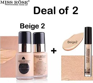 Deal of 2 Miss Rose Makeup Foundation Shade Light Full Coverage and Miss Rose W…