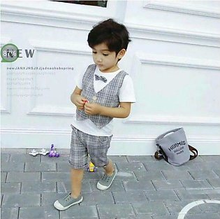 stylish baby boy summer grey attached waist cost shirt with attractive shorts