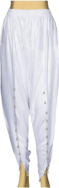 Dhanak Boutique Tulip Shalwar with Hanging Beads for Women in Soft Cotton - Whi…