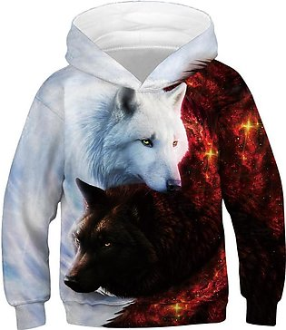Teen Kids Girl Boy Galaxy Fleece Print Cartoon Sweatshirt Pocket Pullover Hoodie