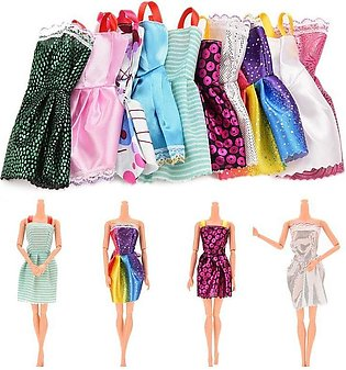 10PCS Kids Xmas Handmade Mini Dress for Barbie Doll - intl
