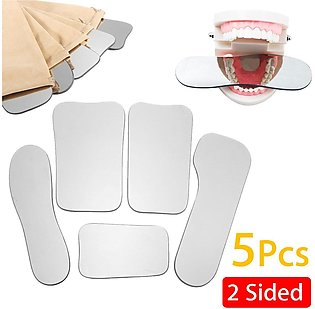 5PCS/SET Dental Oral Orthodontic Photographic Glass Mirror Reflector,2-Sided