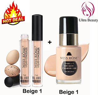 Deal of Miss Rose Makeup Foundation Beige 1 Full Coverage and Miss Rose Water P…