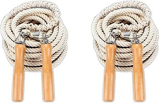 2x Hot Jump Rope Wooden Handle Skipping Gym School Group Multi Person Rope Jump…