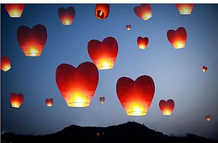 Heart Shape Sky Lantern White - Available in Economy Pack of 5 Pieces