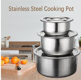 4pcs Stainless Steel Stock Pots Set with Lids Cooking Kitchenware Pot Casserole