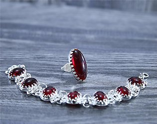 Maroon Aqeeq Oval Stone Ring and Multi Stone Bracelet For Men