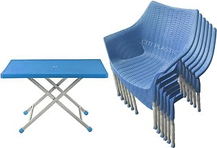 Set Of 6 Rattan Plastic Chairs And Plastic Table - Blue