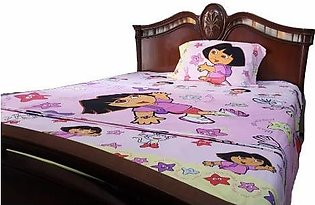 Queen Size Cartoon Print Bedsheet With Comforter And Pillow Cover