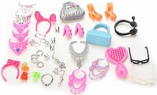 40pcs/Set Jewelry Necklace Earring Comb Shoes Crown Accessory For Barbie Doll -…