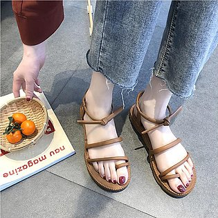Women's Flat Sandals Thick-Bottomed Beach Shoes Summer Lace-Up Clip-Toe Sandals