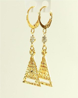 Golden Flower Shaped Earring with Blue stone and pearl
