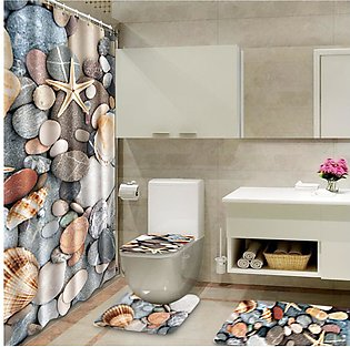 Bath Mat Set 4 Piece Bathroom Rug Toilet Cover and Mat shower curtain