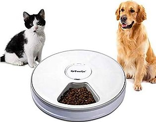 4pawslife 6 Meal Automatic Pet Feeder Food Dispenser with Digital Timer