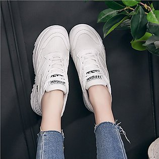 ✫Good Quality✫  Women White Casual Sport Outdoor Walking Shoes Med Lace Up Girl…