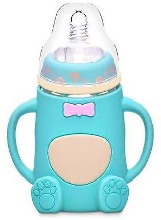 Cartoon Baby Glass Feeder With Cover - 240ml