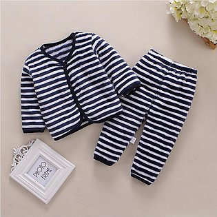Newborn Baby Girl Boy Fleece Thick Warm Tops Pants Set Pajamas Sleepwear Clothes