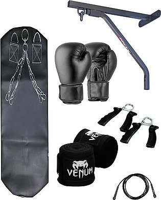 punching bag fitness wall stand boxing gloves bandage jump rope