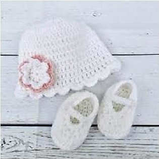 Handmade White Baby Girls Woolen Booties and Cap For 6, 7Months