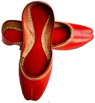 Handmade embroidered leather Mojari Khussa Shoes for Girls and Women