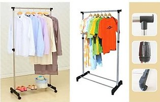 Stainless Steel Single Pole Cloth hanging Rack with Shoe Stand/ Cloth Hanger St…