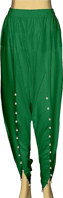 Dhanak Boutique Tulip Shalwar with Hanging Beads for Women in Soft Cotton - Gre…