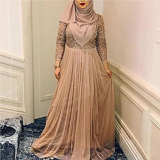 Women Muslim Sequins Maxi Dress Casual Long Sleeve Party Dresses Robe