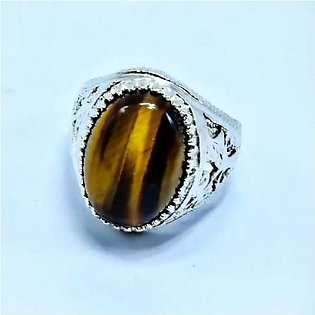 Tiger Stone Ring For Men china silver. Real stone