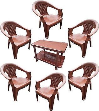 Plastic Chairs Pure plastic chairs  Pack of 6 Plastic Table - Brown