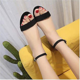 Summer Lady Middle Heels Shoes Ankle Strap Sandals Chunky Heels Women Shoes