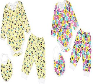 baby romper with (romper bib and pajama set of 3) pack of 2 yellow and pink rom…