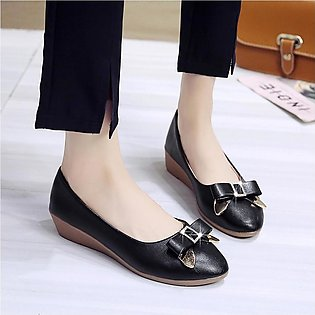 Women's Fashion Casual Butterfly Knot Pointed Toe Wedges Shallow Work Shoes