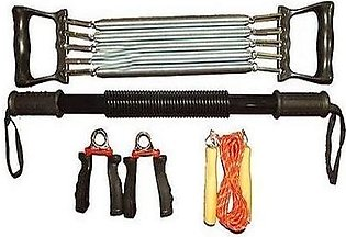 Chest Expander, Hand Grip, Bull Worker Rod, Jump Rope -Pack Of 4