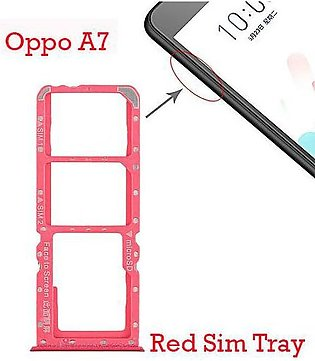 Oppo A7 Sim Tray For  Oppo A7 Sim Jacket - Red