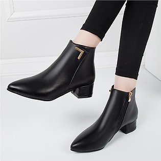 Women's Fashion Leisure Solid Pointed Toe Med Heels Ankle Boots Shoes