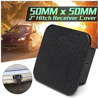 1Pcs 2inch Hitch Receiver Cover Tralier Hauling Towing Rear Black Rubber Square