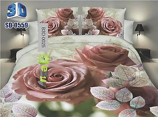 Pink Roses 3D Bed Sheets king Size with 2 pillow Covers (N)